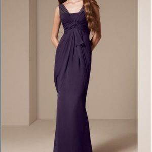 Vera Wang White column gown in Amethyst purple